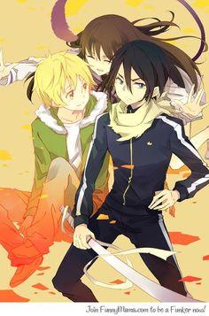 Noragami - Yato, Yukine and Iki Hiyori