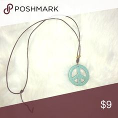 Blue peace sign necklace Very cute for any outfit! Jewelry Necklaces
