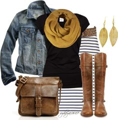 Denim Jacket, gold / mustard scarf, riding boots, white / navy striped pencil skirt.