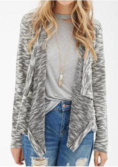 Lace Splicing Asymmetric Knit Cardigan Without Necklace