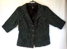 296f56c75b1a2 Details about Torrid Size 2 Womens 2X Jacket Black Tweed Notch Collar  Button Front Blazer