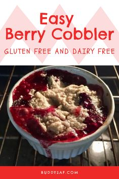 Single serving dessert for one. Easy cobbler, Gluten Free Berry Cobble. Individual serving berry cobbler. 5 min dessert. Easy dessert. I absolutely love fresh berry cobblers.  But sometimes I dont' 1) have a huge amount of berries to make a pan full, 2) I  want my own individual serving  while I sit and watch a movie or 3) I can't get our kids to agree on which berry since I have 3 kids who all like different berries:(  What are cobblers?  #berrycobbler #eggfreecobbler #dairyfreecobbler