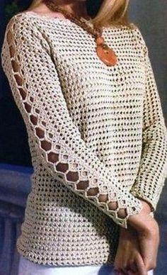 Простой пуловер, с оригинальным узором на рукаве, связан крючком. Пуловер подходит для теплой весенней, летней или осенней погоды. Пуловер связан