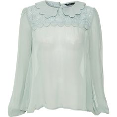 Miso Lace Insert Top ($23) ❤ liked on Polyvore featuring tops, blouses, shirts, shirts & blouses, loose shirts, vintage blouse, summer shirts and green shirt