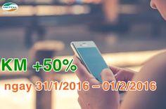 Viettel khuyến mãi 50% nạp thẻ từ 31/1 đến 1/2/2016