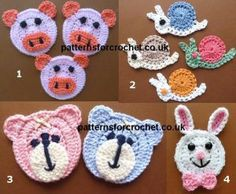 Adorable animal face crochet patterns for you to make for that little extra touch to your crochet projects, use on blankets, scarfs, hats, sweaters etc..                     Get the patterns here 1)   Peter Piglet 2)   Sammy Snail 3)   Toby Teddy Bear 4)   Ronnie Rabbit Save Save …