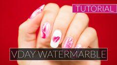 Love-themed water marble tutorial for Valentine's Nail Art Diy, Diy Nails, Diy Nail Designs, Nail Tutorials, Natural Nails, Manicures, Nailart, Marble, Valentines