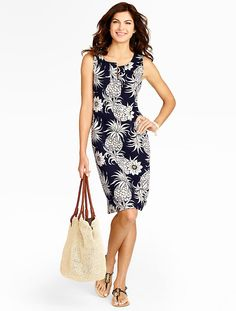 Talbots - Pineapple Print Knit Tank Dress | |