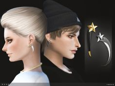 The Sims Resource: Dusk Earrings by toksik • Sims 4 Downloads