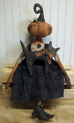 Primitive-Grungy-Pumpkin-Lady-Halloween-Doll-Her-Little-Black-Kitty-Cat
