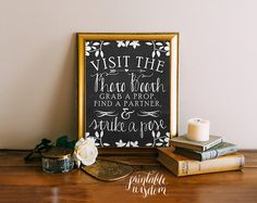 Direct your guests to the photo booth with this ornate chalkboard photo booth sign! Perfect for weddings, birthday,s or any occasion that calls
