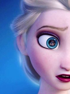 Elsa- if you look close enough to her eye, you can see Elsa cradling Anna after she hit her with her ice powers.