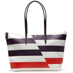 Lacoste Large Stripe L.12.12 Concept Tote Bag ($128) ❤ liked on Polyvore featuring bags, handbags, tote bags, bags bags, leather goods, white leather tote, striped tote bag, leather handbag tote, handbags totes and white leather purse