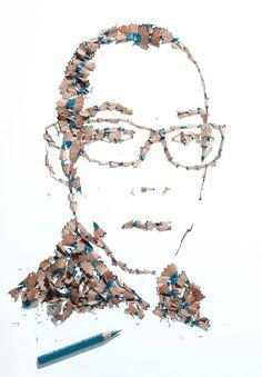 portraits avec des copeaux de crayon kyle bean 3   Portraits avec des copeaux de crayon   portrait photo Kyle Bean image crayon copeau