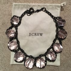 J. Crew statement necklace Large round pale pink stones and oxidized silver. Pouch included! J. Crew Jewelry Necklaces