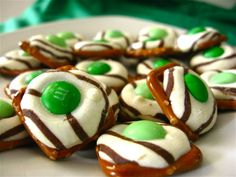 These look oh so tasty - and a combination of salty and sweet. Pretzel bites made with pretzels, hershey's hugs, and m.