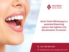 Zoom Teeth Whitening is a patented bleaching system that lightens the discoloration of enamel and dentin.   #ZoomWhiteningInBrampton #aesthetic #orthodontics #medicine #cosmeticdentistry #royalsmiledental #dentalcare #perfectteeth #smiledesign #canada  #ontario #dentalhealth #DentalImplantsBrampton  #bramptondentist #dentalhygienist #cosmeticdentistry