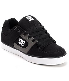 The Pure TX skate shoe from DC Shoes is an all canvas shoe in black and Dark Shadow grey. These wrap cup skate shoes are wear-all-day comfortable with a tough canvas upper, a padded footbed for impact support, a lightly padded tongue and collar for foot p