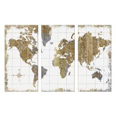 Found it at Joss & Main - Gilded Map by All That Glitters 3 Piece Graphic Art on Canvas Set