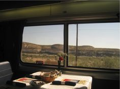 Instead of dinner and a movie, guests on Amtrak enjoy dinner and a beautiful view. Sounds like an adventure! Thanks to Stan Peacock for sharing this image on our Facebook page, http://facebook.com/amtrak  --Amtrak, Train, Train Travel, Travel, Traincation, Dining