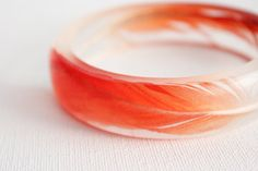 red African Grey parrot feather eco resin transparent round bangle bracelet