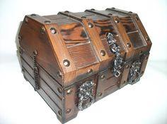 Vintage Wooden Treasure Chest Barware Bar Set by RetroClassics