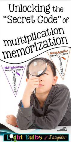"Unlocking the ""Secret Code"" of Multiplication Memorization. I have plenty of Unlocking the ""Secret Code"" of Multiplication Memorization. I have plenty of graders who haven't memorized all their X-facts yet. Math For Kids, Fun Math, Math Resources, Math Activities, Third Grade Math, Fourth Grade, E Mc2, Math Help, Secret Code"