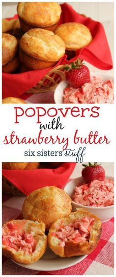 Popovers with Strawberry Butter recipe | Perfect spring treat.