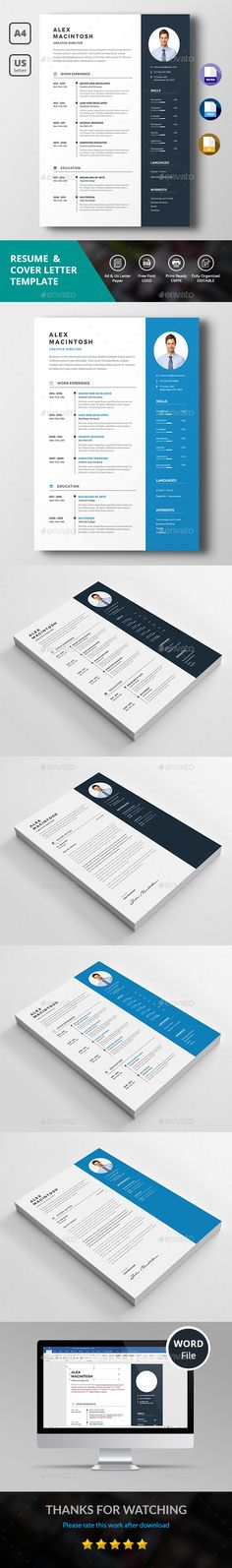 Clean Resume Template PSD, EPS, AI, DOCX & DOC - A4 and US Letter