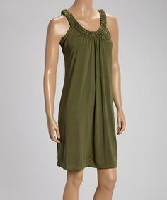 Loving this Olive Ruched-Collar Sleeveless Dress on #zulily! #zulilyfinds