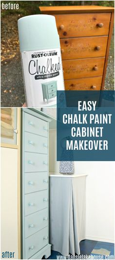 Trying out Rust-Oleum's new chalk paint spray paint in Serenity Blue. See an easy, chalk paint cabinet makeover before and after. Chalk Spray Paint, Blue Spray Paint, Spray Paint Furniture, Blue Chalk Paint, Repainting Furniture, Chalk Paint Projects, Diy Furniture Easy, Furniture Makeover, Furniture Projects