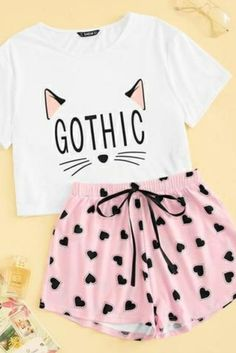 Cat Print Casual Sleepwear Women - Source by nathalieschiel - Cute Sleepwear, Sleepwear Women, Cute Lazy Outfits, Trendy Outfits, Teen Fashion Outfits, Girl Outfits, Fashion Clothes, Cute Pajama Sets, Mode Kpop