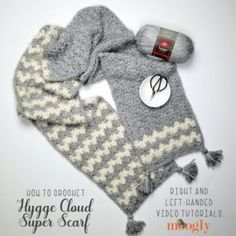 Hygge Cloud Super Scarf Tutorial Videos: The Hygge Cloud Super Scarf Tutorial demos how to crochet this ultra squishy and cozy scarf pattern - free on Moogly, both right and left-handed! Crochet Scarves, Crochet Yarn, Free Crochet, Crochet Gifts, Crochet Hood, Crochet Abbreviations, Scarf Tutorial, Cozy Scarf, Red Heart Yarn