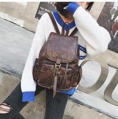 bcf20b0381 2018 Winter Vintage Women Backpack For Teenage Girls School Bags Fashion  Backpacks Leather Black Drawstring Large BagPack XA150H
