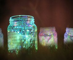 fairy jars made with glow in the dark sticks splattered inside with lights and moss or grass???  cool