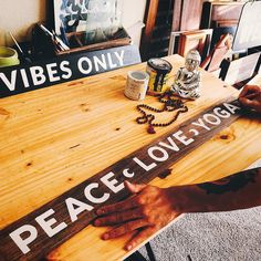 Making signs for my Yogi friends. Who wants one? #yoga #yogaeverydamnday #lettering #signpainting #stpete #peaceloveyoga