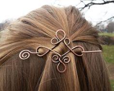 Minimal red hair fork Metal hair stick Long hair by GingeryStones