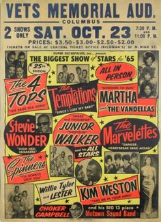 Saturday October 23 1965 - Motown on tour - Stevie Wonder, Martha Reeves & The Vandellas, The Temptations, The 4 Tops etc.
