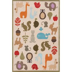 Momeni Lil Mo Critter Ivory Rug - Overstock™  Hand-tufted Each rug is hand-carved. Primary materials: 100% Mod-Acrylic Pile height: 0.5 Style: Casual Primary color: Ivory Secondary colors: Grey, blue, light and dark brown, ivory, orange, red, and olive Pattern: Baby/Kids/Tween