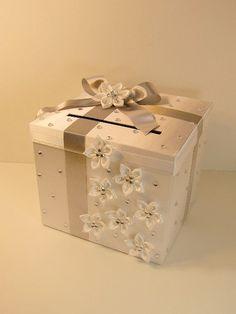 Mariage carte boîte blanc cadeau carte boîte par bwithustudio