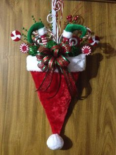 Christmas Santa Hat Door Hanger by ImaginedByDonna on Etsy