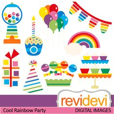 Rainbow party cliparts. Balloons, banners, sweets, candy, lollipops, cupcake with candle. These   digital images are  great for any craft and creative  projects (specially for kids birthday).