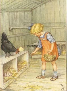 Vintage illustration ~ Cicely Mary Barker- Memory of Aunt chicken coop. Cicely Mary Barker, Images Vintage, Vintage Pictures, Vintage Children's Books, Vintage Art, Flower Fairies, Children's Book Illustration, Antique Illustration, Illustrators