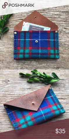 """Pendleton & Leather Card Holder•Tartan Plaid This gorgeous little envelope style card holder is made from vintage upcycled Pendleton wool and rustic buffalo leather. Pendleton Wool is tartan plaid with colors of blue, teal/green and red. Leather is buffalo hide and has a rustic finish. Measures 5 1/2"""" wide x 3 1/2"""" tall. The perfect size to hold business cards, credit/debit cards, cash and coins. 100% handmade and hand stitched by me. One of a kind! Tags- Winter, Christmas, Gift, Wallet…"""