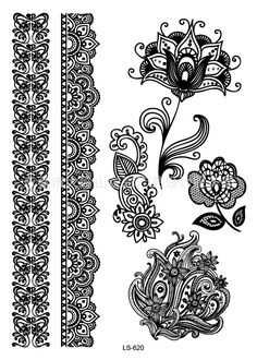 Waterproof Temporary Tattoo Sticker  tatto black sexy lace stocking with lotus flash tatoo fake tattoos for girl women #Affiliate