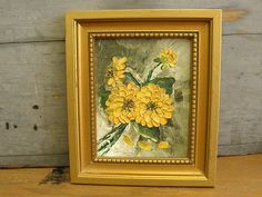Cheerful Little Oil Painting of Yellow Flowers Blue Bonnets, Zinnias, Ruby Lane, Yellow Flowers, Painting Frames, Cheer, Shops, Oil, Texture