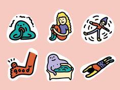 Sticker for LINE App designed by YIYUN LIN. Cute Illustration, Graphic Design Illustration, Name Card Design, Cute Cartoon Wallpapers, Line Sticker, Drawing For Kids, Cute Stickers, Cute Drawings, Doodle Art