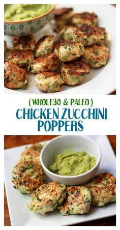 Zucchini Poppers Plan on making a double batch! These Chicken Zucchini Poppers are the best dinner out there.Plan on making a double batch! These Chicken Zucchini Poppers are the best dinner out there. Chicken Zucchini Poppers, Zucchini Balls Recipe, Chicken Zuchini Recipes, Chicken Balls, Recipe Chicken, Keto Chicken, Baked Chicken, Clean Eating Snacks, Whole 30 Recipes