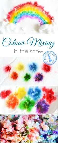 When it's too cold to play with snow outside, bring it inside and open a colour mixing lab with paints in the snow. Fun winter art project for kids! Winter Activities For Kids, Creative Activities For Kids, Creative Arts And Crafts, Winter Crafts For Kids, Craft Activities, Toddler Activities, Diy For Kids, Kids Crafts, Snow Crafts