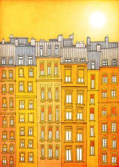 Paris illustration - Yellow facade - Fine art illustration,Fine art prints,Art Posters,Paris art,Yellow,Paris decor,Wall art,wall decor